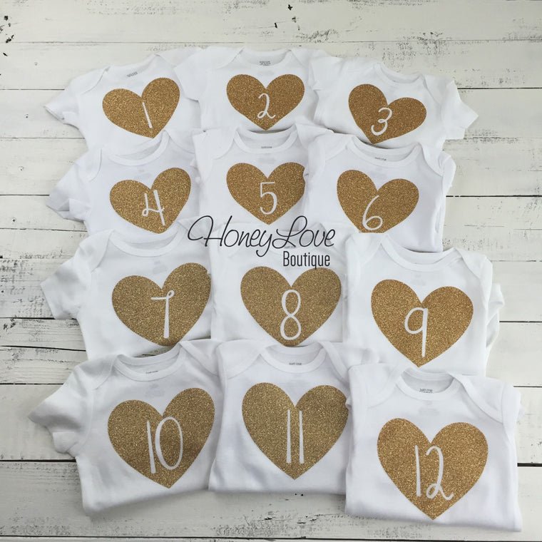 Monthly Milestone Bodysuits - HoneyLoveBoutique