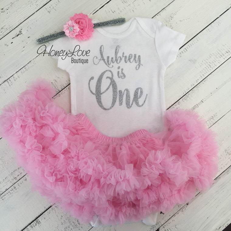 "Personalized Name ""is One"" - 1st Birthday Outfit - Light Pink and Silver/Gold Glitter - HoneyLoveBoutique"