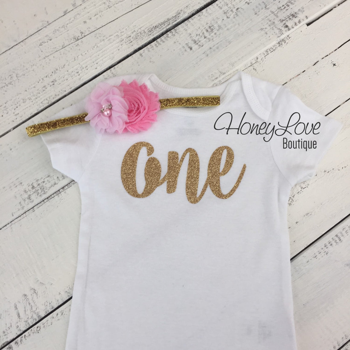 One - Birthday Outfit - Gold or Silver with light pink - HoneyLoveBoutique