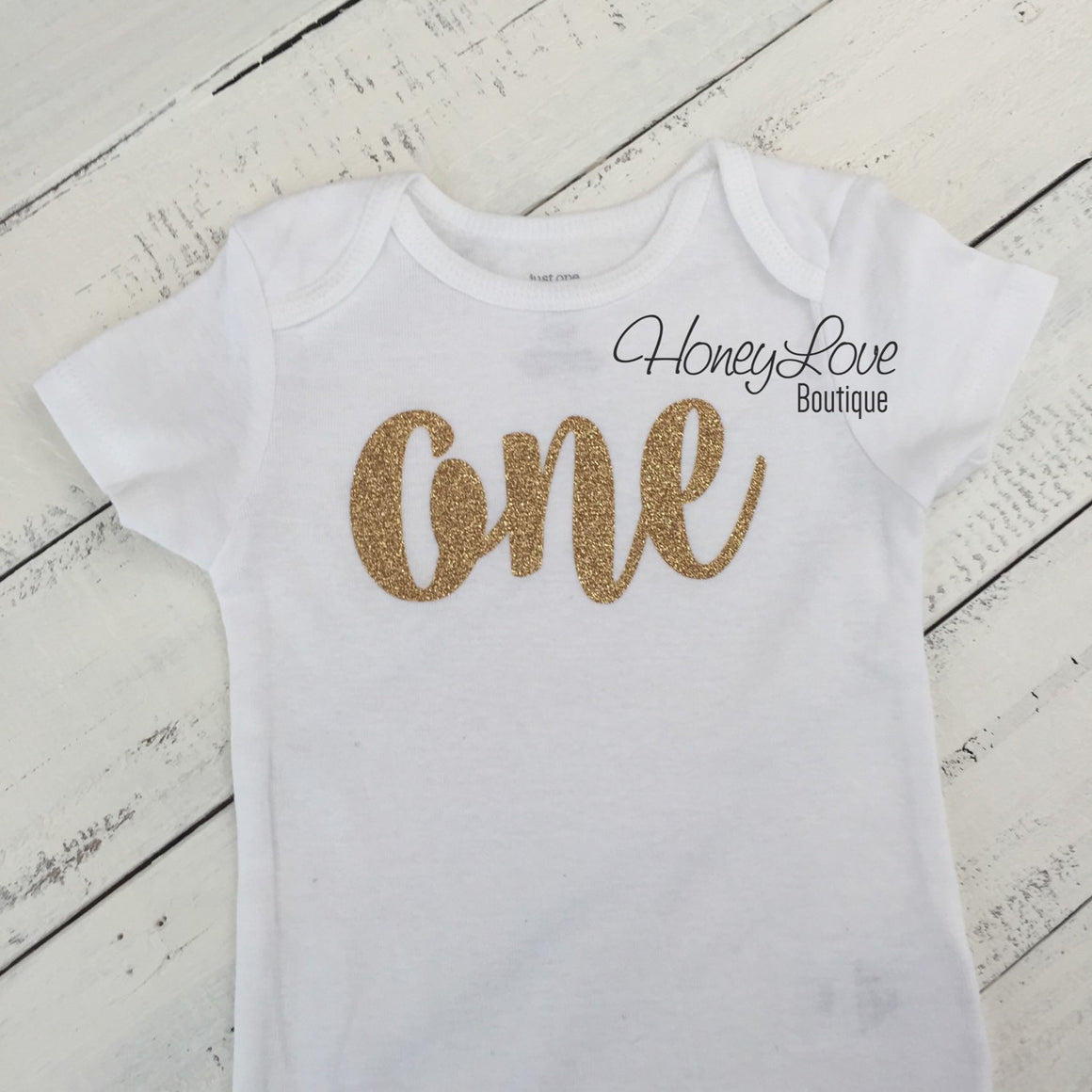 One - 1st Birthday Outfit - Gold or Silver with light pink