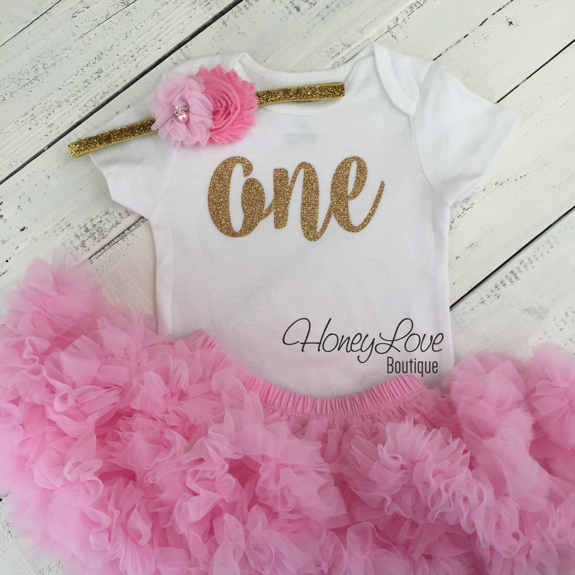 One - SILVER or GOLD glitter shirt bodysuit, pink pettiskirt tutu skirt, flower rhinestone headband, First Birthday 1st Cake Smash baby girl - HoneyLoveBoutique