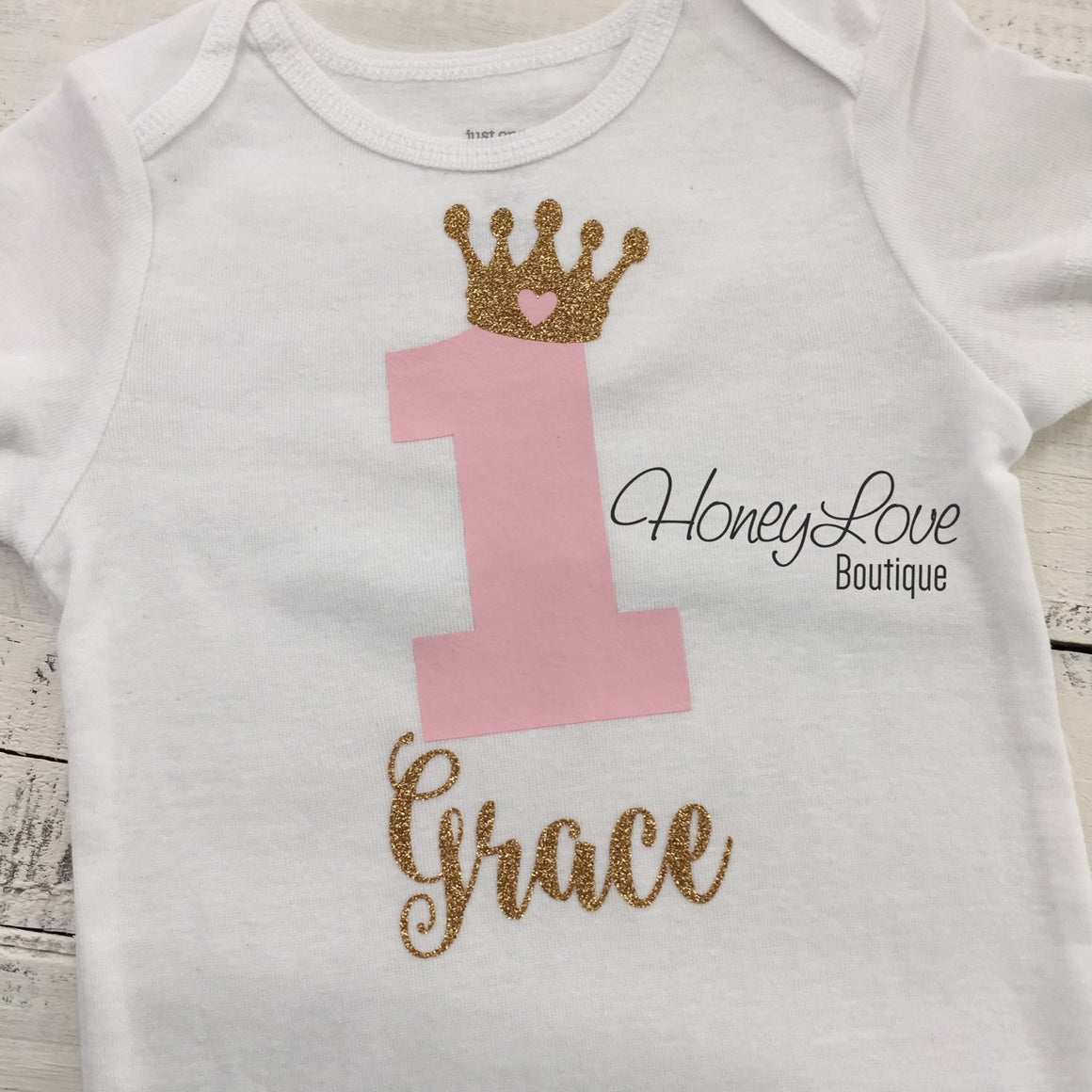 Personalized First Birthday Princess Bodysuit - Light Pink and Gold glitter - HoneyLoveBoutique