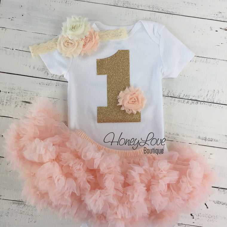 1st Birthday Outfit - Peach and Ivory - HoneyLoveBoutique