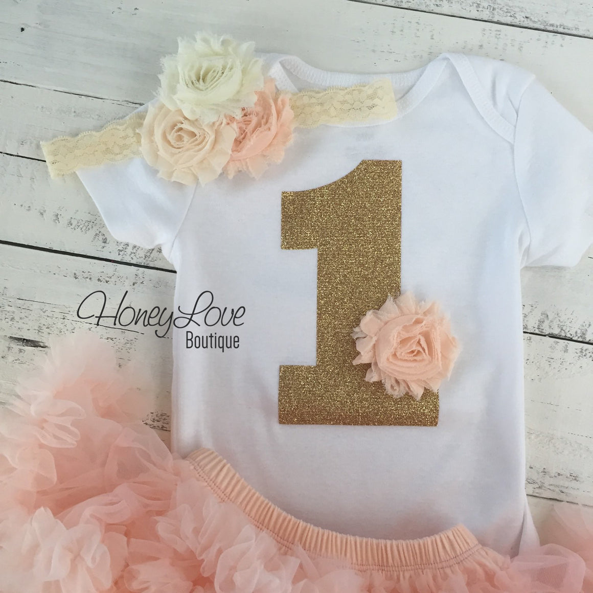 1st Birthday Outfit, peach gold glitter 1 number shirt, pettiskirt tutu skirt, lace shabby flower headband bow, First Cake Smash baby girl - HoneyLoveBoutique