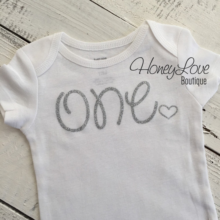 One - SILVER or GOLD glitter bodysuit with heart