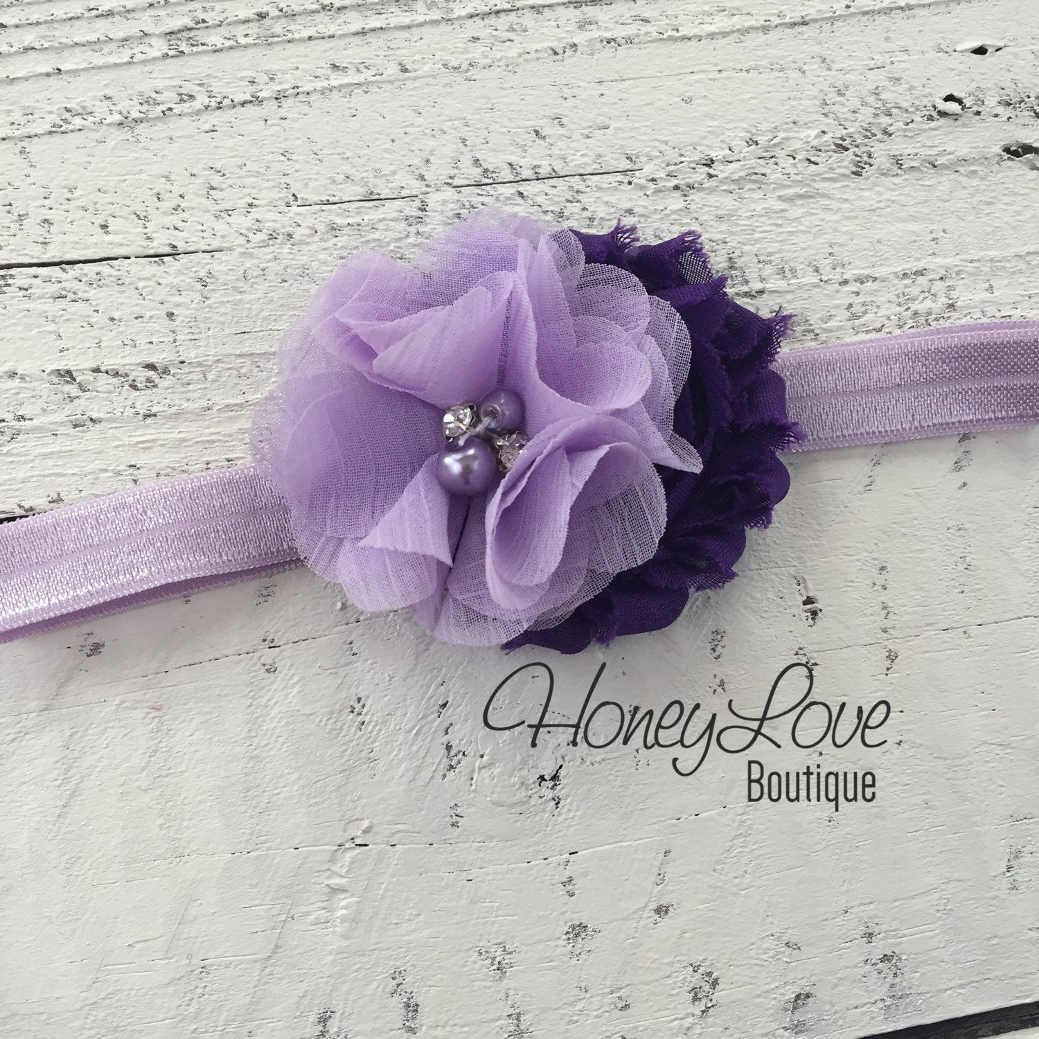 Grape Purple And Lavender Purple Flower Headband Honeyloveboutique