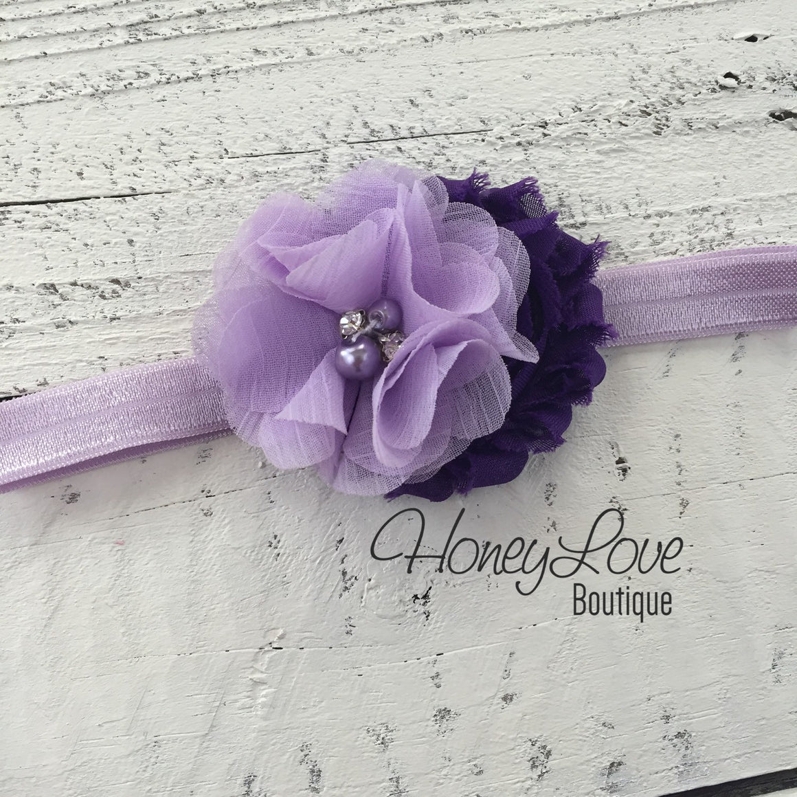 Grape Purple and Lavender Purple flower headband - HoneyLoveBoutique