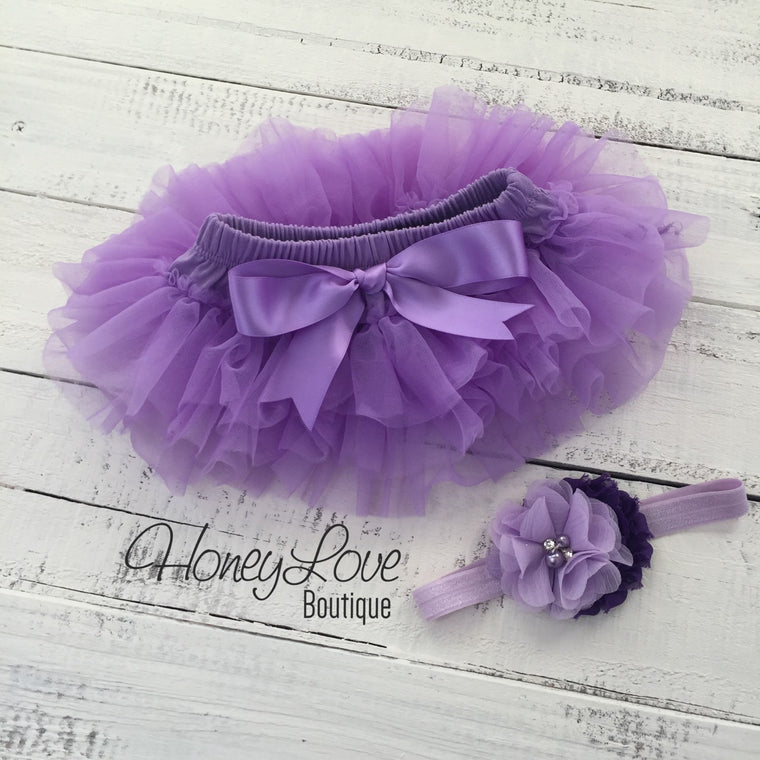 Lavender Purple tutu skirt bloomer and headband