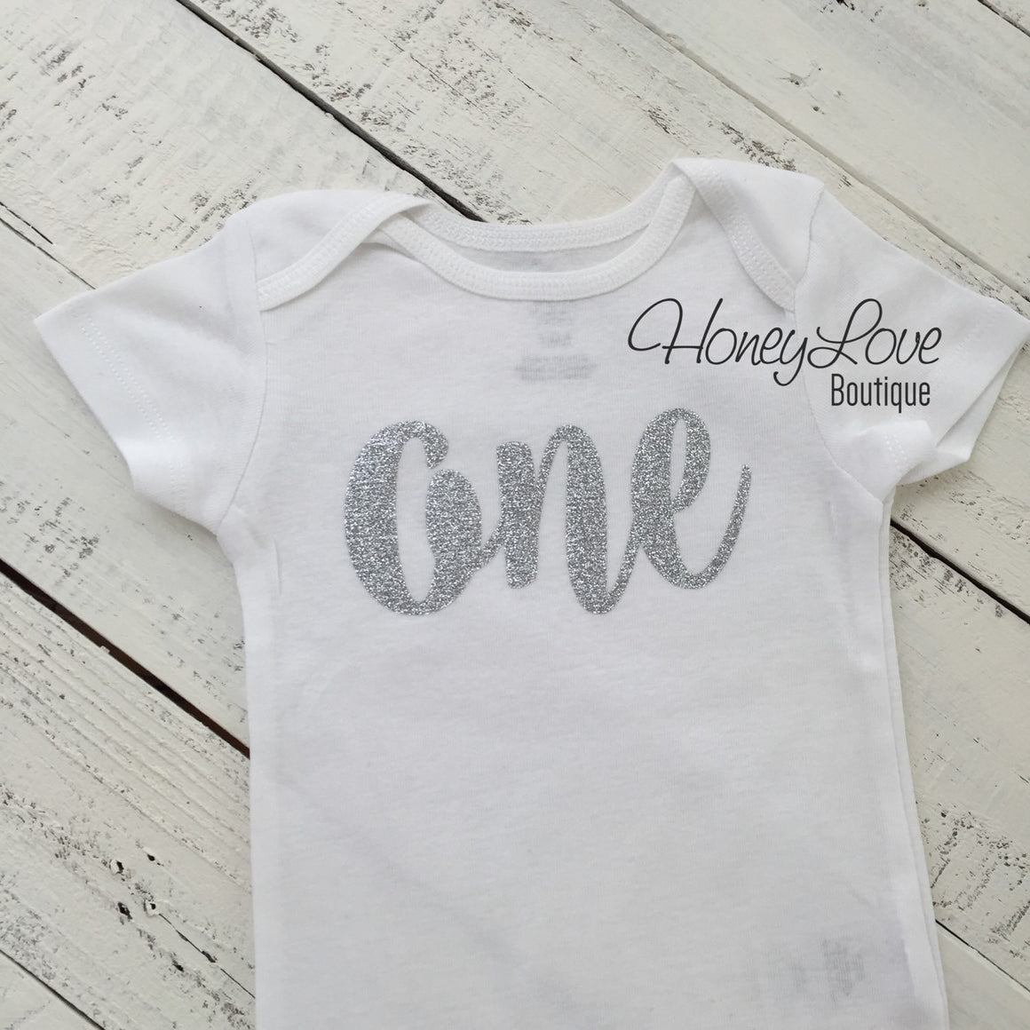 One - silver glitter shirt bodysuit, First Birthday 1st Cake Smash baby girl infant toddler, sparkly sparkle glittery, half 1/2 number 1 - HoneyLoveBoutique
