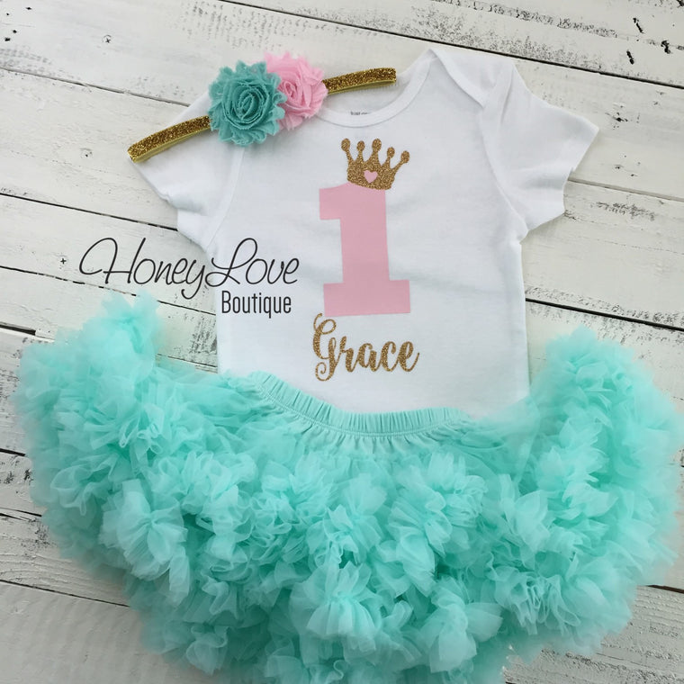 Personalized 1st Birthday Princess Outfit - Gold Glitter, Light Pink and Mint/Aqua - HoneyLoveBoutique
