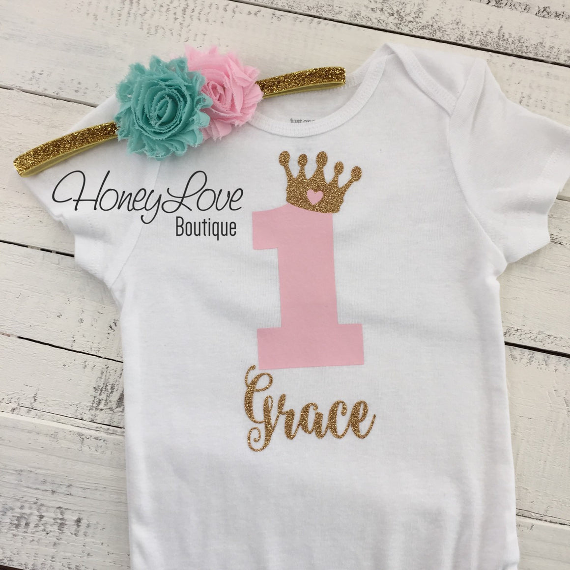 Personalized 1st Birthday Princess Outfit - Gold Glitter, Light Pink and Mint/Aqua