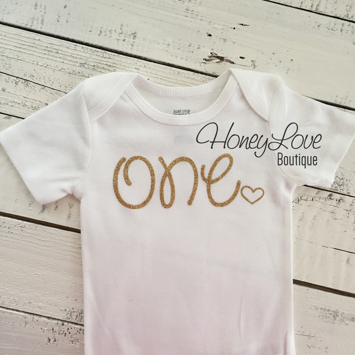 One - SILVER or GOLD glitter bodysuit with heart - HoneyLoveBoutique