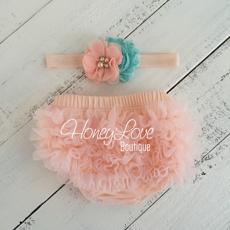 Peach ruffle bottom bloomers diaper cover, aqua blue flower rhinestone pearl headband, newborn infant toddler baby girl take home hospital - HoneyLoveBoutique