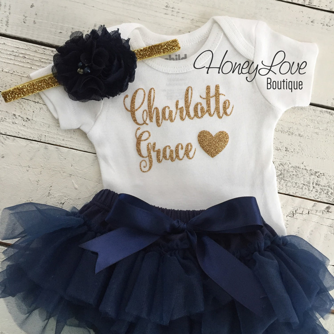 PERSONALIZED Name Outfit - Gold Glitter and Navy
