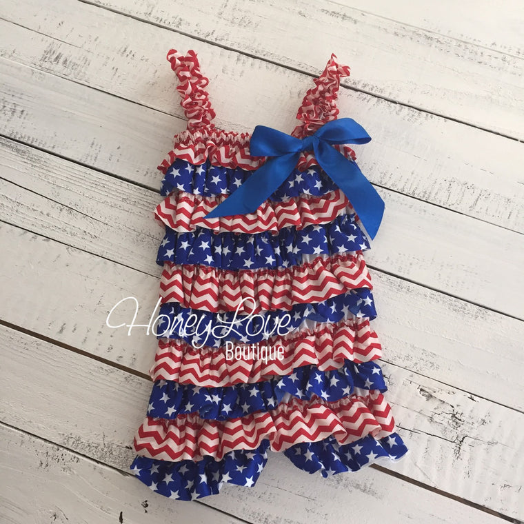 4th of July Flag Stars Patriotic Satin Petti Romper, Red White Blue, newborn infant toddler little baby girl, photo prop outfit Memorial Day - HoneyLoveBoutique