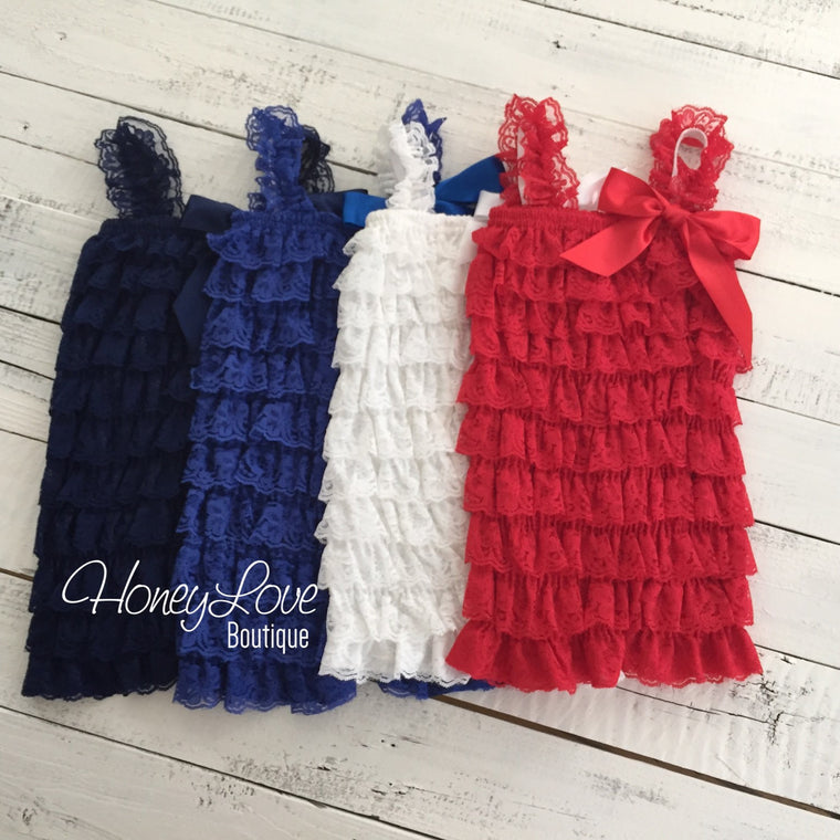 4th of July Patriotic Lace Petti Romper - Red White Blue Navy - newborn infant toddler little baby girl - photo prop outfit Memorial Day - HoneyLoveBoutique