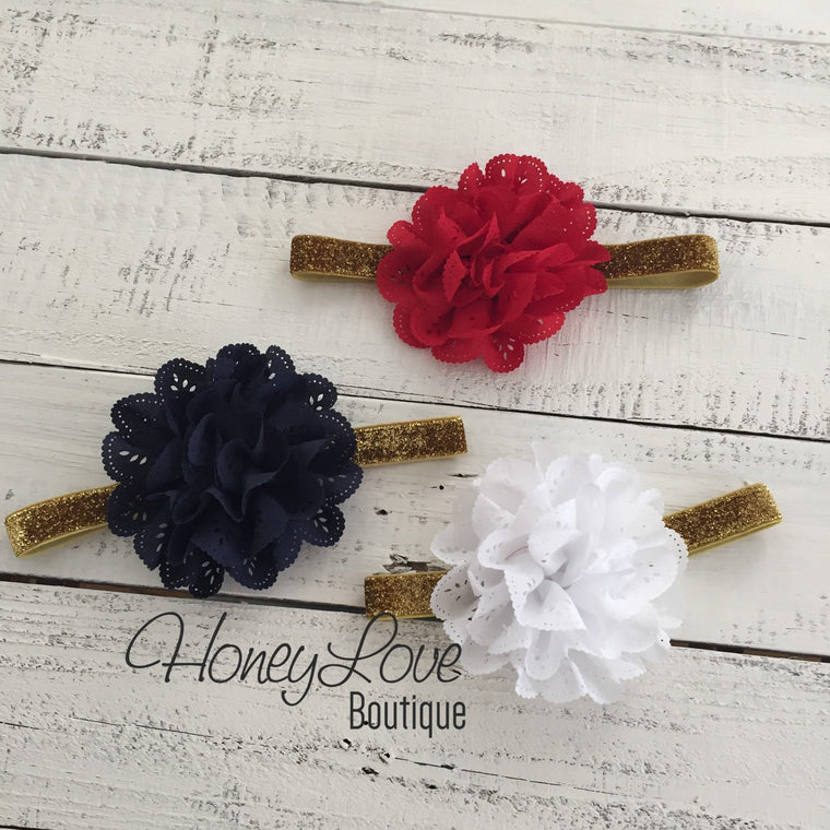 Red White or Navy Blue Lace Eyelet Flower - Silver/Gold headband