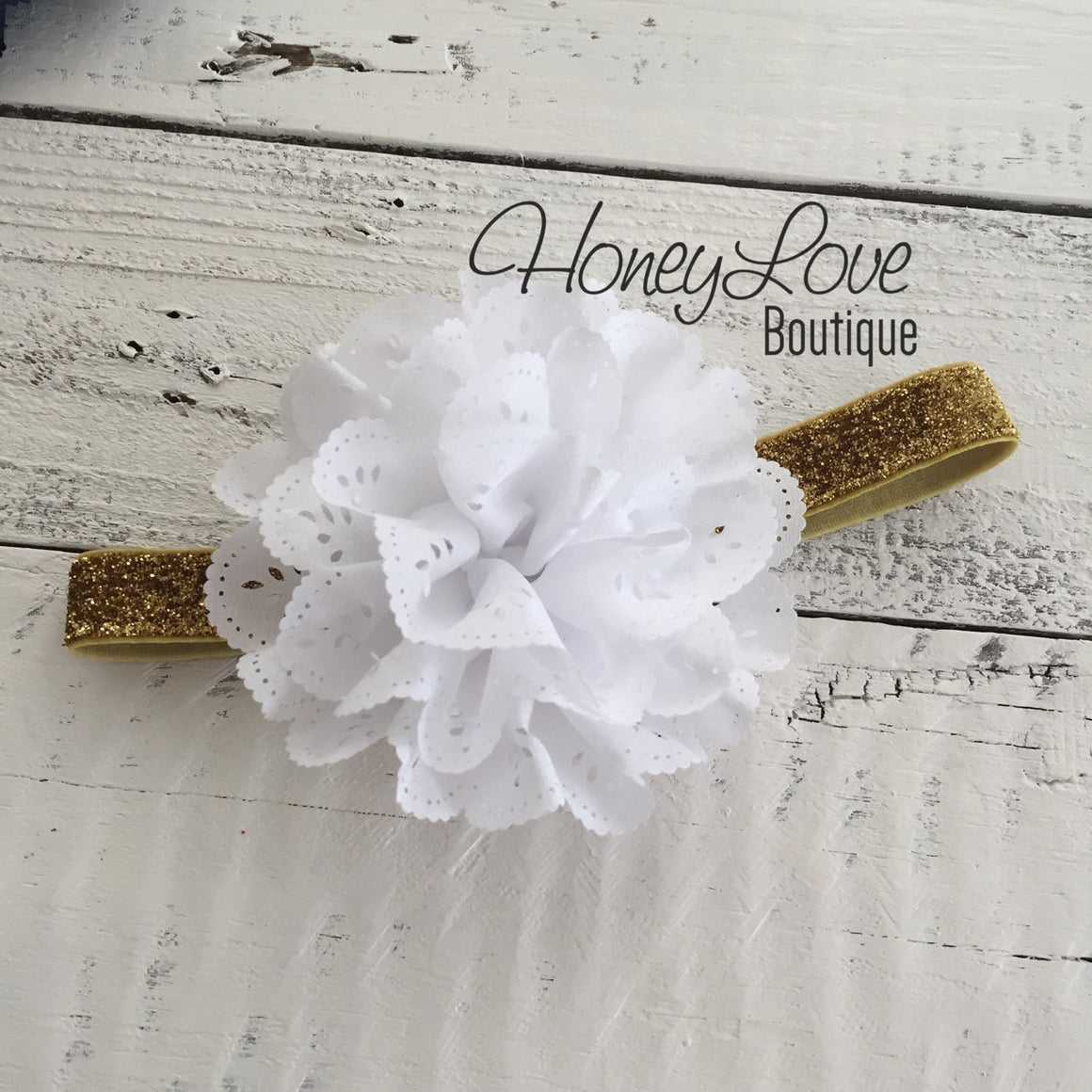 Red White or Navy Blue Lace Eyelet Flower - Silver/Gold headband - HoneyLoveBoutique