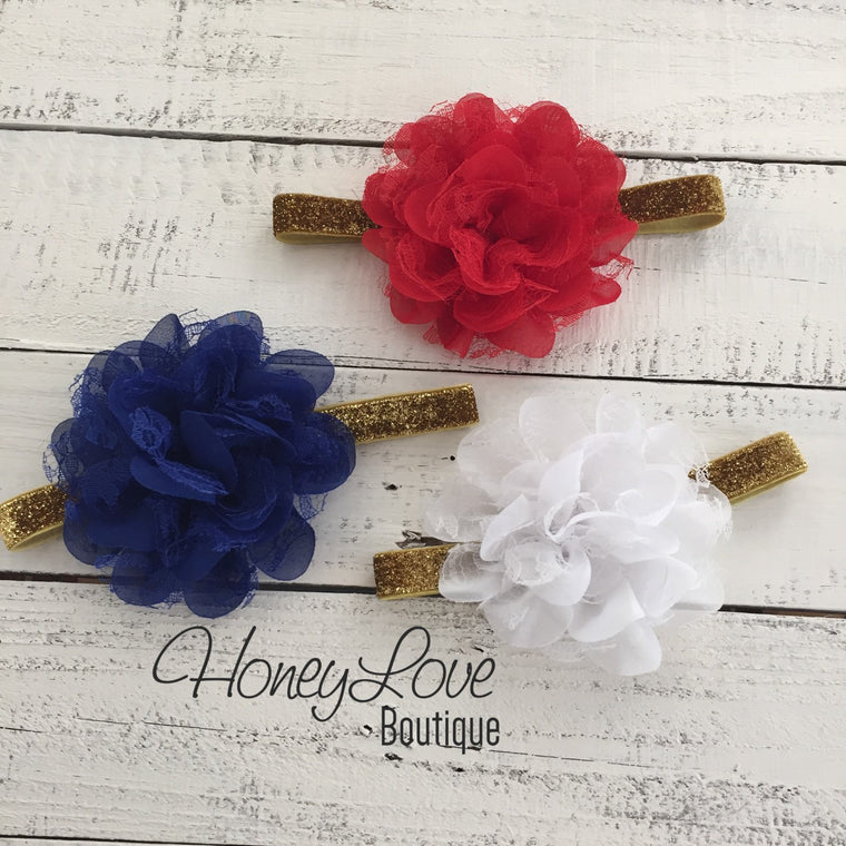 Red White or Blue Lace Layered Flower - Silver/Gold headband - HoneyLoveBoutique