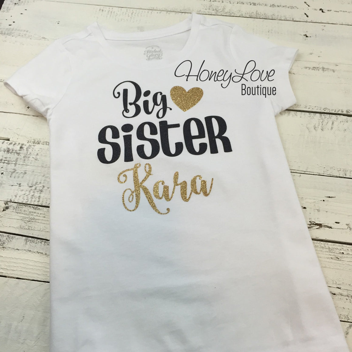 PERSONALIZED Sister Bodysuits and Shirts - Gold Glitter and Black - HoneyLoveBoutique