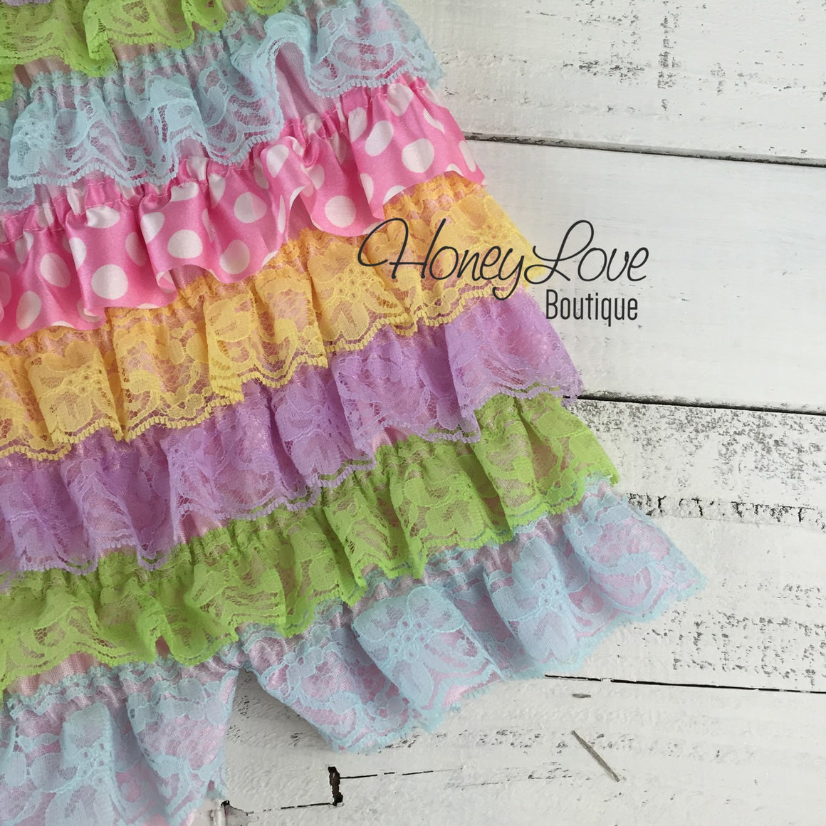 Satin & Lace Petti Romper - Easter Pastels - with lavender flower embellishment - HoneyLoveBoutique