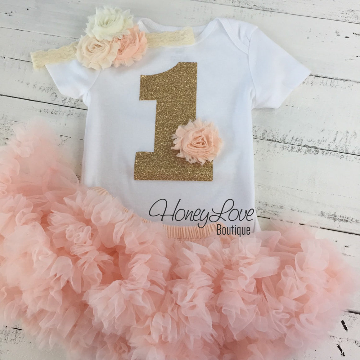 1st Birthday Outfit - Peach and Ivory