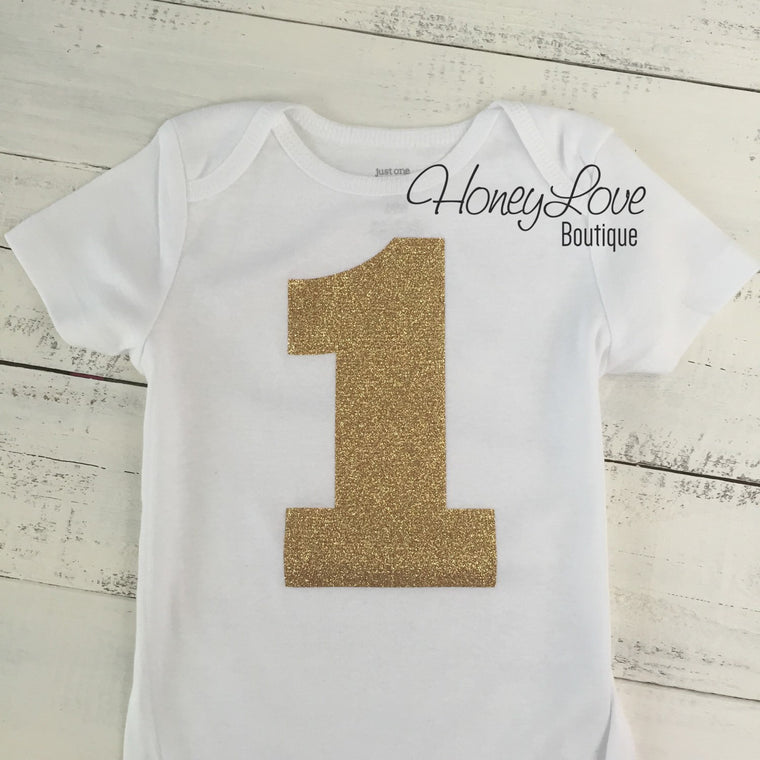 1 One - gold glitter shirt bodysuit, First Birthday, 1st Cake Smash baby girl infant toddler, sparkly sparkle glittery, half birthday number - HoneyLoveBoutique