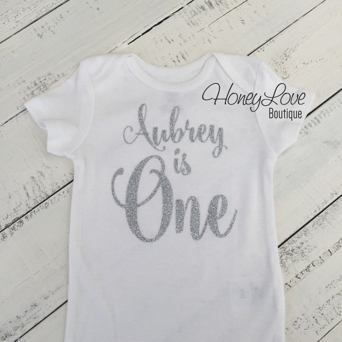 Personalized 1st Birthday Bodysuit - Silver/Gold Glitter - HoneyLoveBoutique