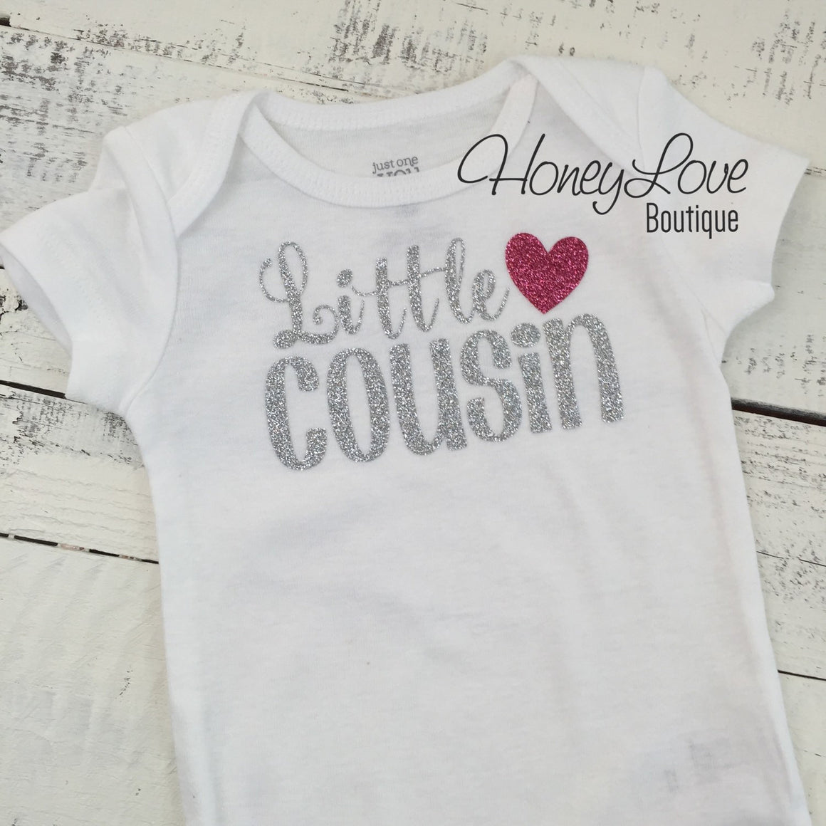 Cousin Bodysuit and Shirts - Silver and Dark Pink Glitter - HoneyLoveBoutique