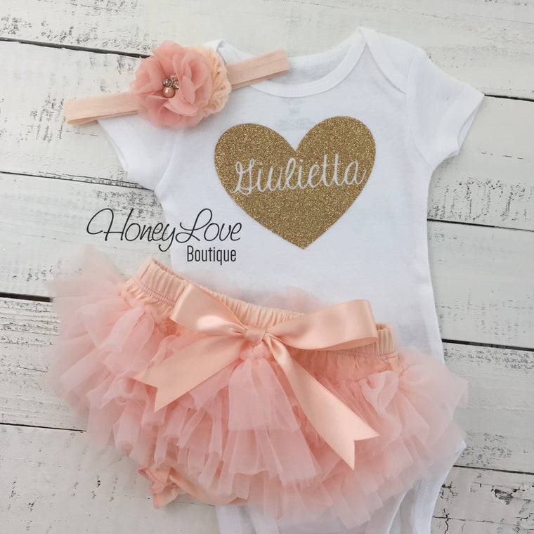 PERSONALIZED SET gold glitter heart shirt bodysuit, peach tutu skirt bloomers, flower headband, newborn baby girl take home hospital outfit - HoneyLoveBoutique