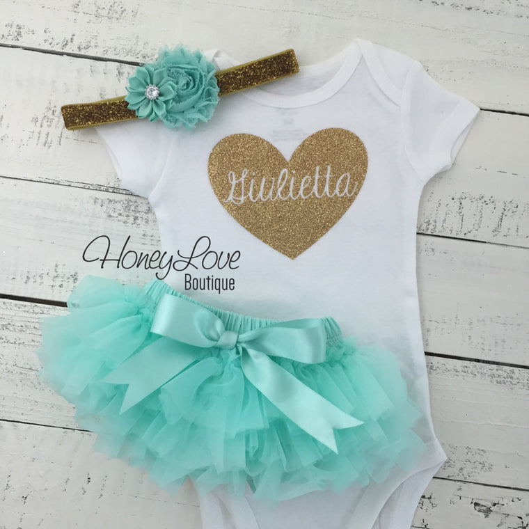 PERSONALIZED Name Heart Set GOLD glitter shirt mint aqua blue flower headband bow tutu skirt bloomer newborn infant baby girl take home - HoneyLoveBoutique
