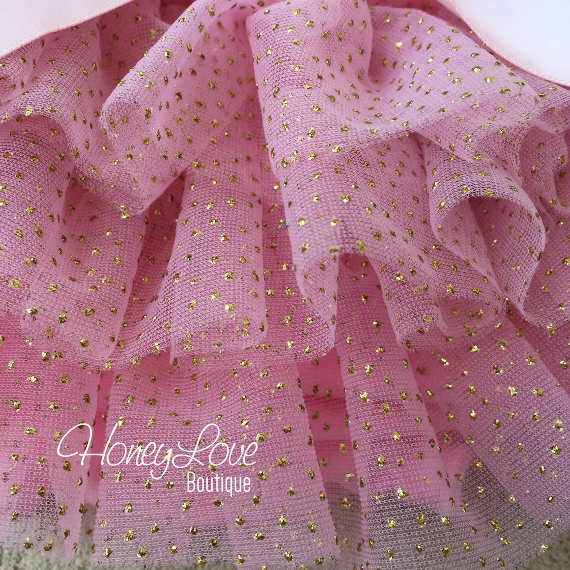 Pink with gold glitter -  tutu skirt bloomers
