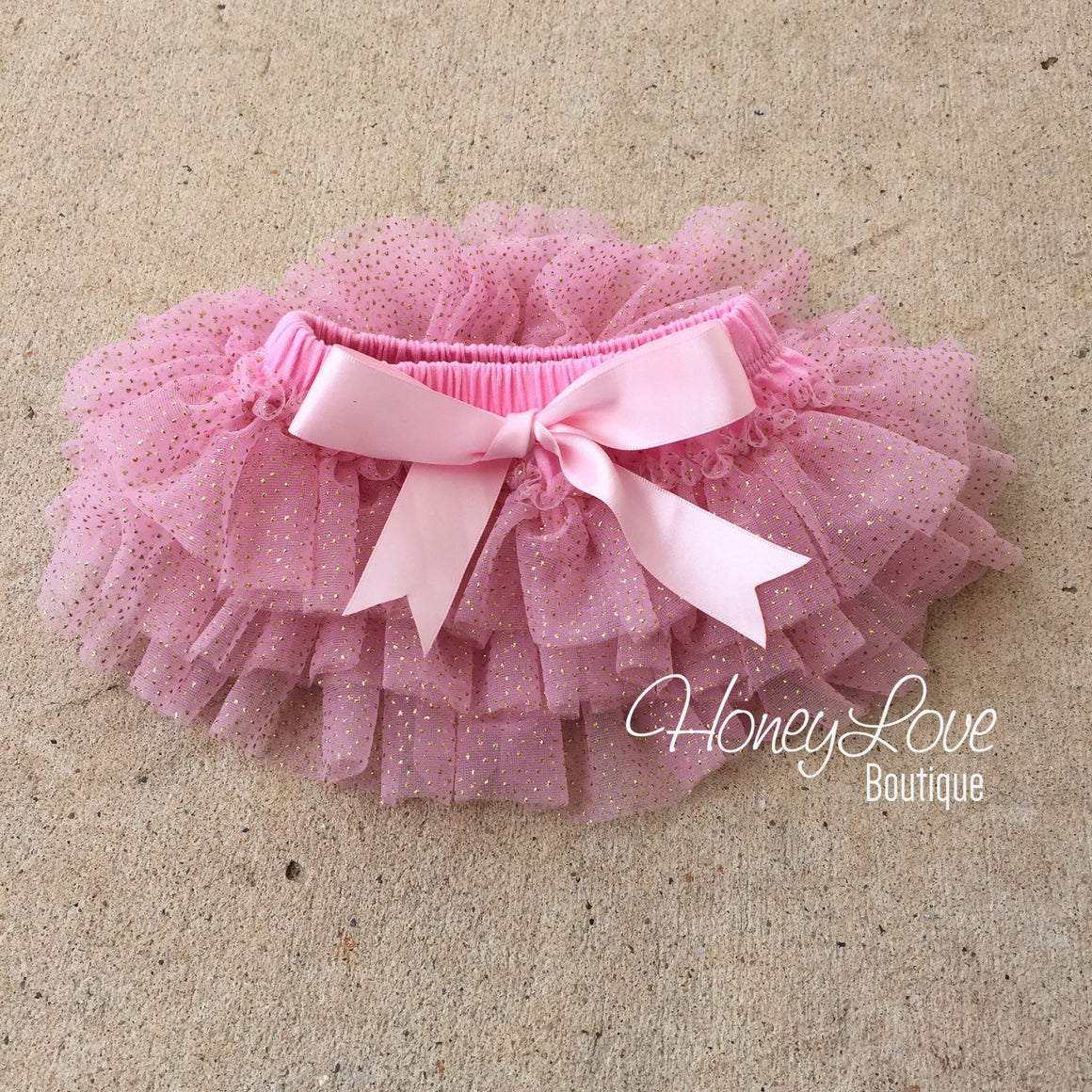 Pink with gold glitter -  tutu skirt bloomers - HoneyLoveBoutique