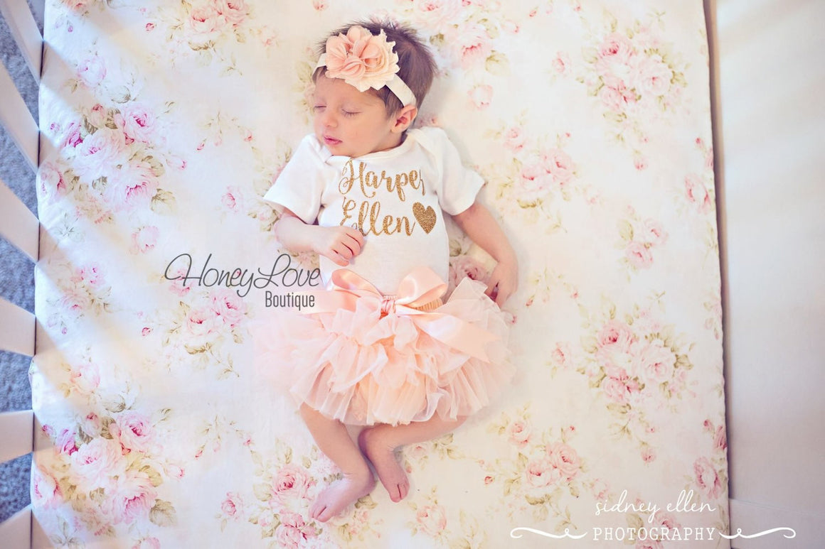 PERSONALIZED Name Outfit - Gold Glitter and Peach