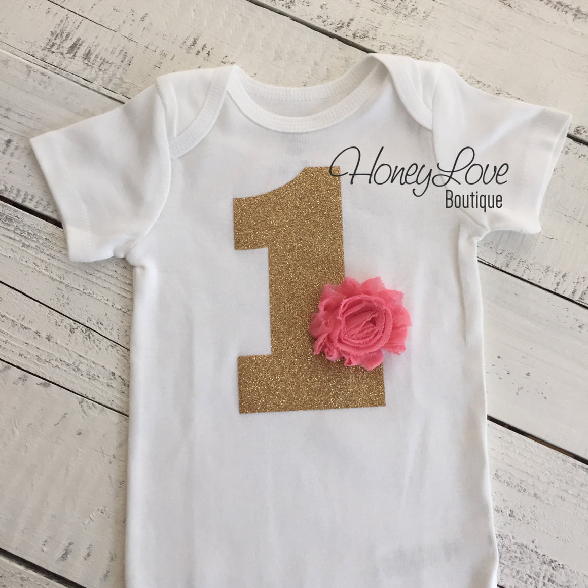 CHOOSE FLOWER COLOR - number 1,  gold or silver glitter shirt bodysuit, First Birthday, 1st Cake Smash baby girl infant toddler birthday - HoneyLoveBoutique