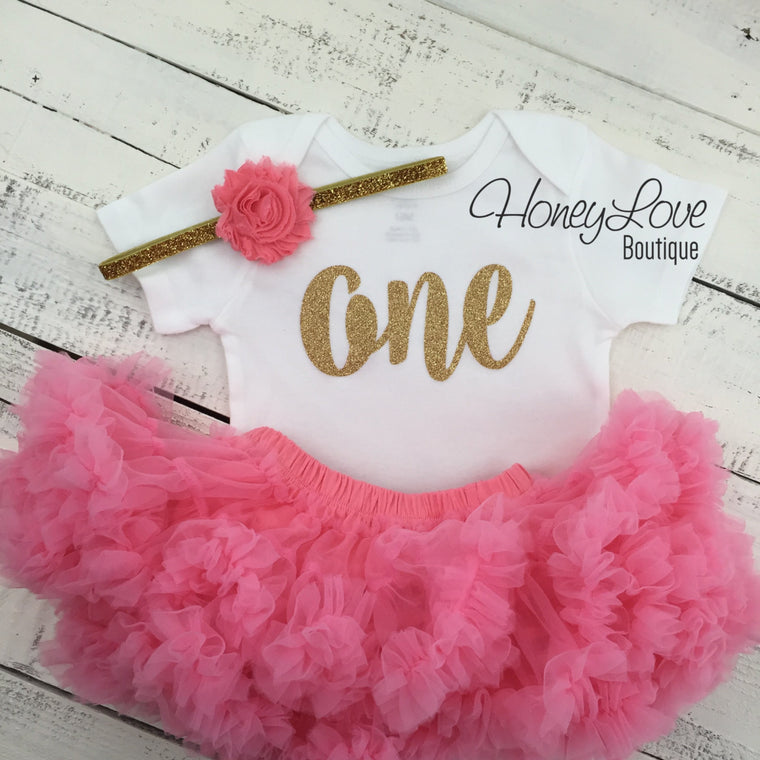 One - Birthday Outfit - Gold Glitter and Coral Pink - HoneyLoveBoutique