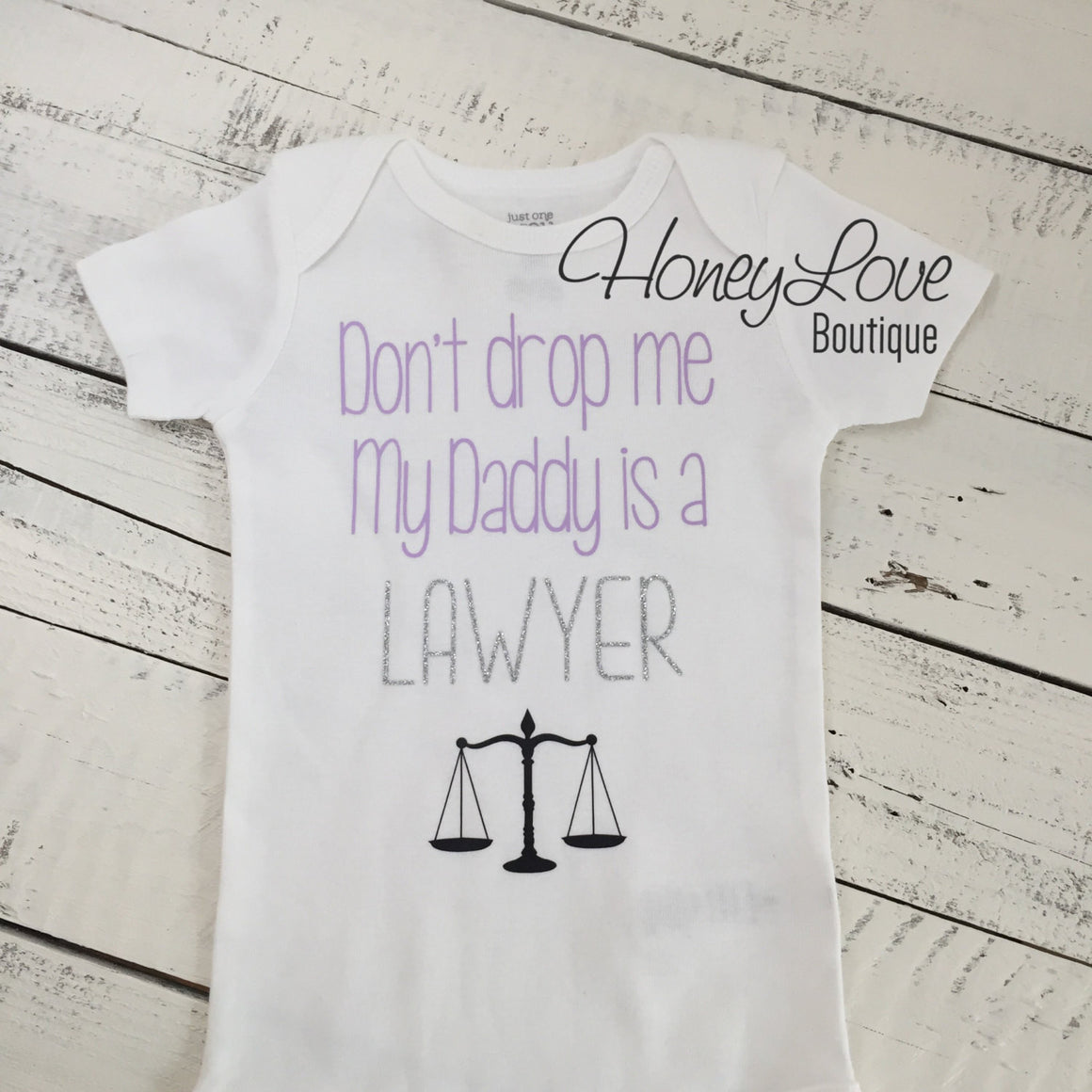 Don't drop me My Daddy is a LAWYER bodysuit - lavender, silver glitter and black