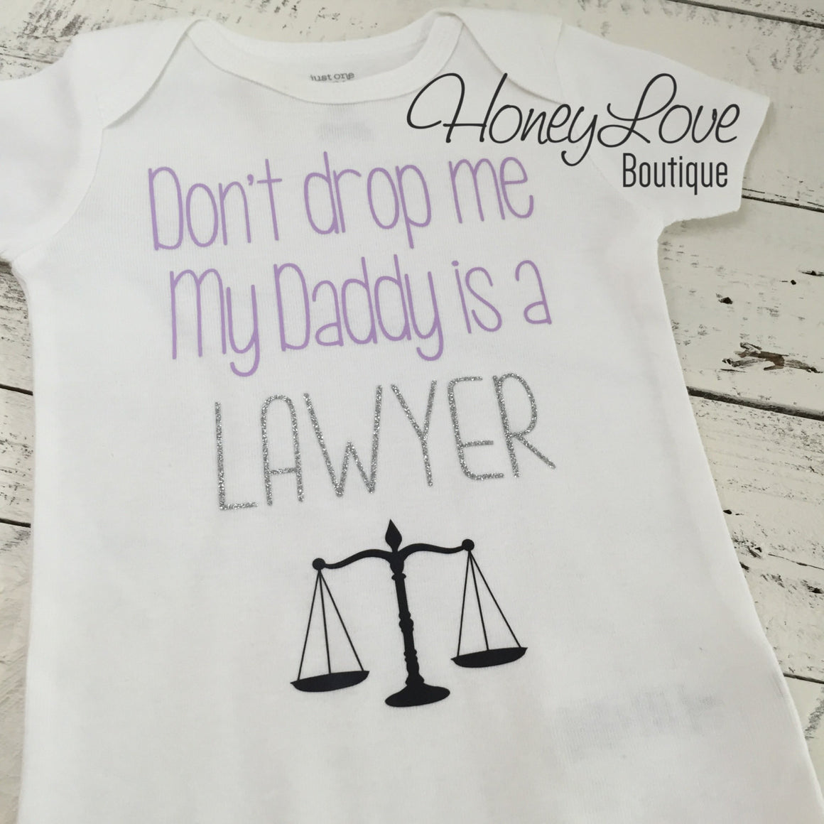 Don't drop me My Daddy is a LAWYER bodysuit - lavender, silver glitter and black - HoneyLoveBoutique
