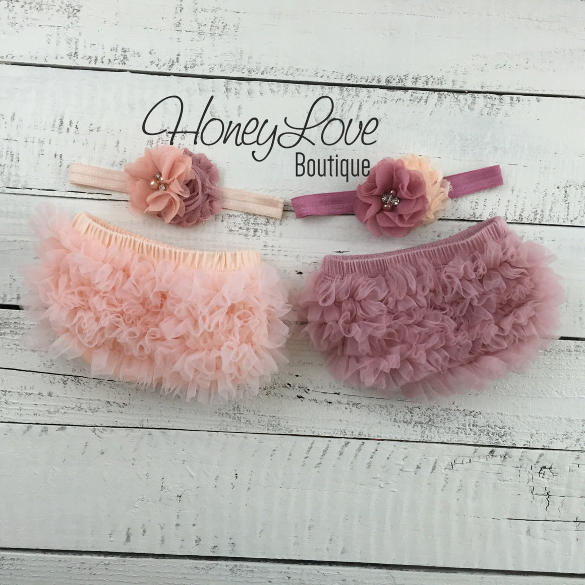 TWIN GIRLS! Peach and Vintage Pink ruffle bottom bloomers and matching headbands - HoneyLoveBoutique