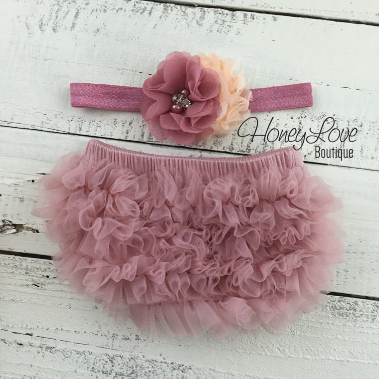 Vintage Pink ruffle bottom bloomers and vintage pink/peach flower headband