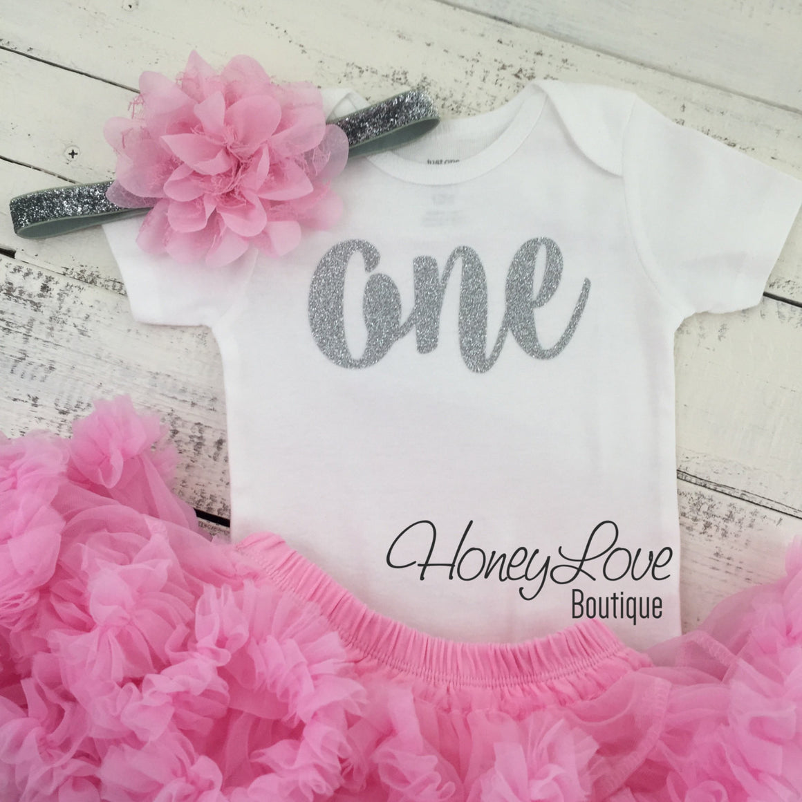 One - Birthday Outfit - Silver or Gold and light pink - HoneyLoveBoutique