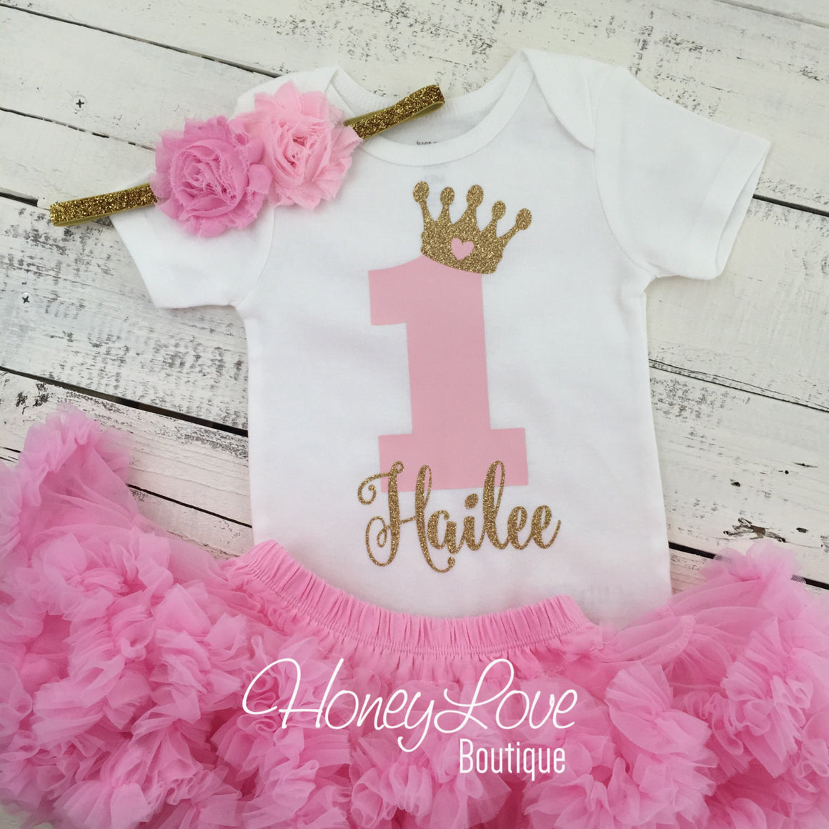 Personalized 1st Birthday Princess outfit - Gold Glitter and Light Pink