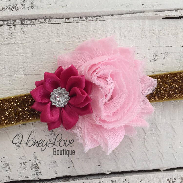 Light Pink Shabby Flower and Dark Pink Satin Flower Rhinestone - Gold Glitter Headband - HoneyLoveBoutique