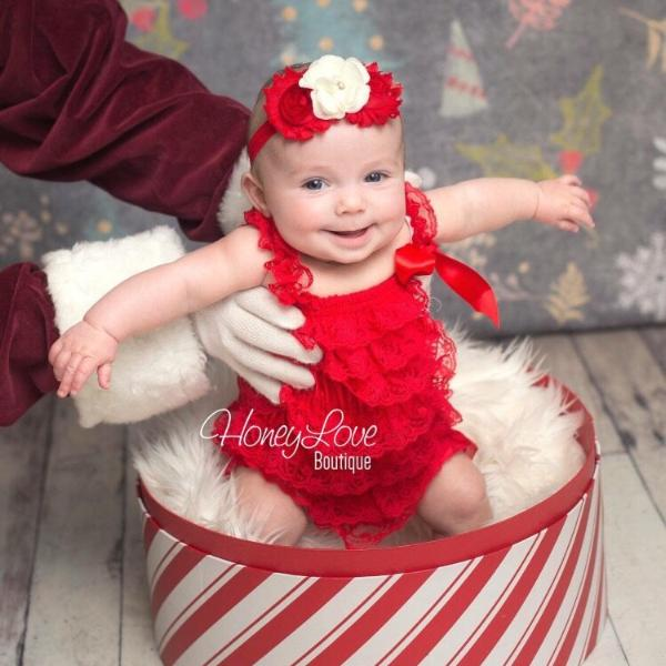 444503d6c8bd Lace Petti Romper - Embellished Christmas Red Lace Petti Romper and  matching red ivory headband ...