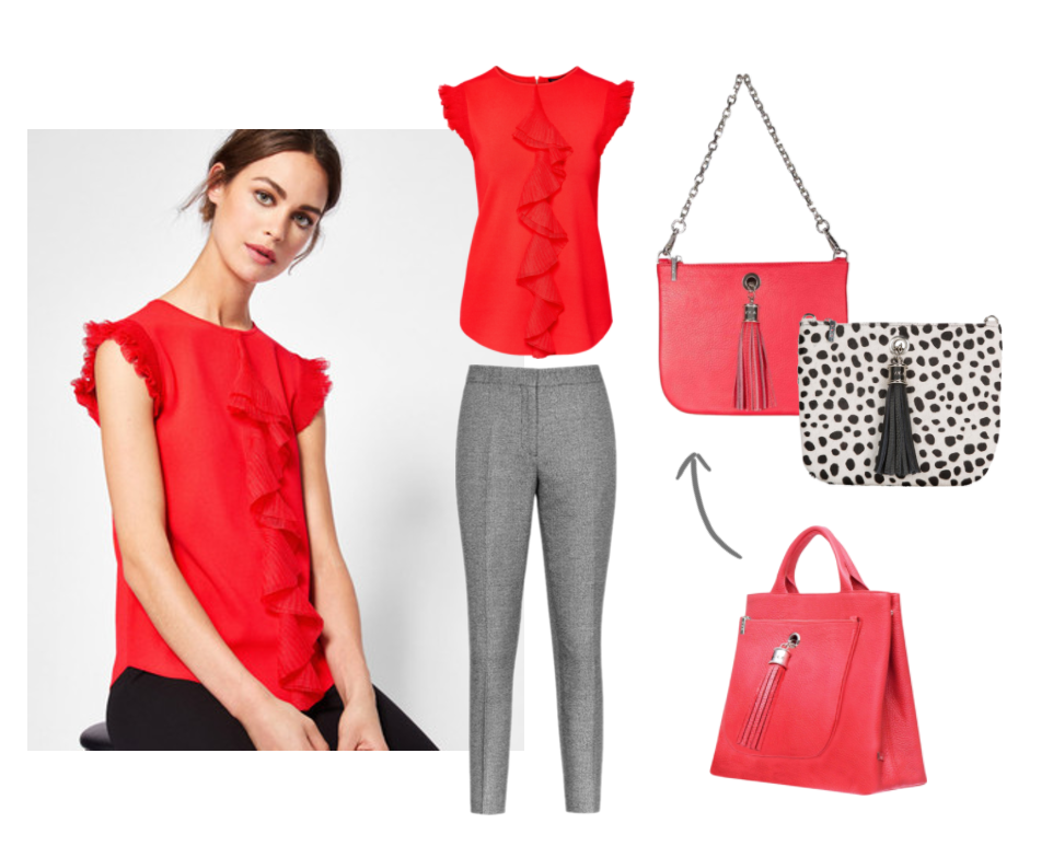red-leather-handbag-black-white-spot-clutch-animal-print-workwear-vva-sarah-haran
