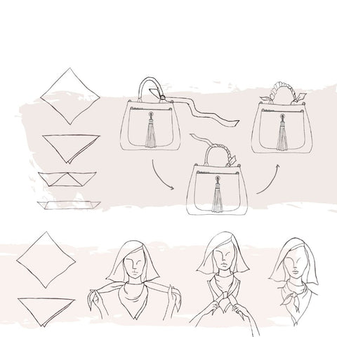 Sarah Haran how to style scarf illustration