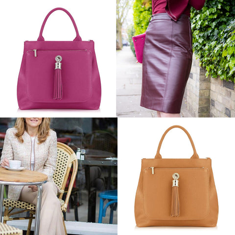 distinctively me workwear dahlia tote bag berry tan