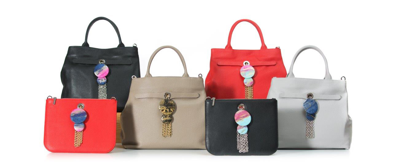 Dahlia Leather Tote With t-Bar Accessory