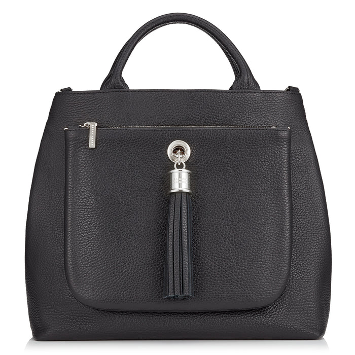 Dahlia Black Leather Tote Handbag