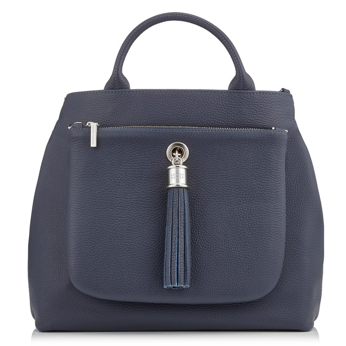 Dahlia Navy Leather Tote Handbag